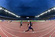 May 12, 2019; Yokohama, JPN; General overall view of  Amaury Golitin (FRA) on the anchor leg of a 4 x 200m rlay heat during the IAAF World Relays at International Stadium Yokohama.