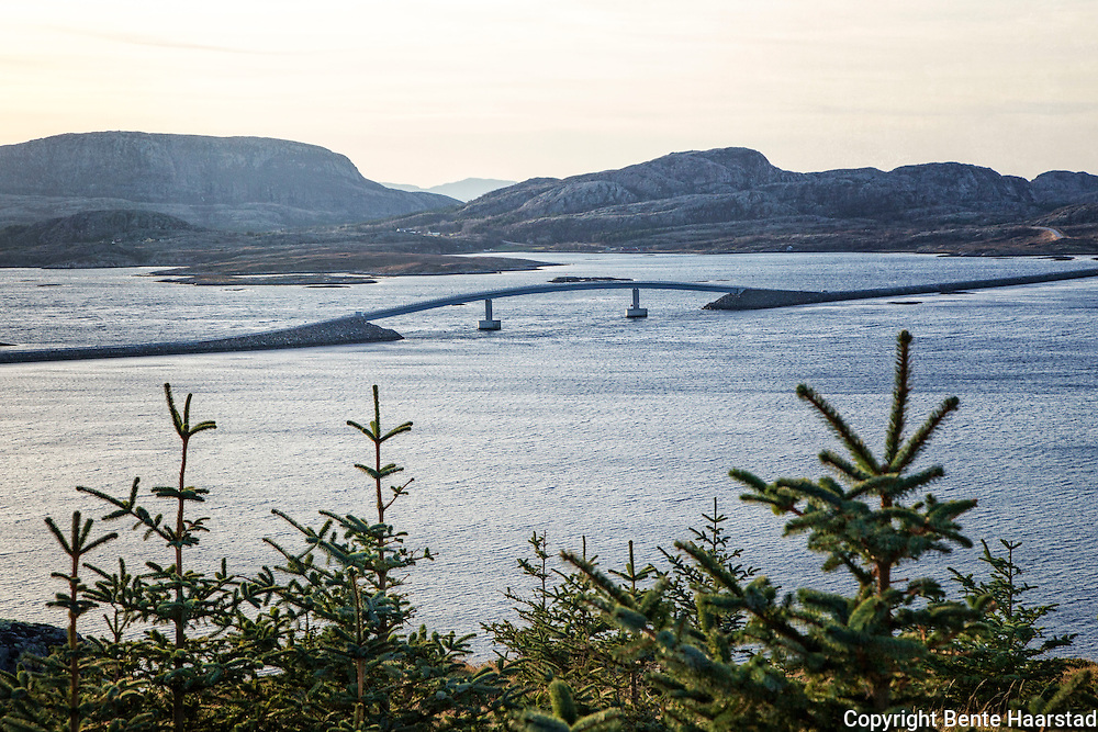 The bridge Linesøybrua, seen from Stokkøya. Bridges connects the islands on this part of the Norwegian coast.