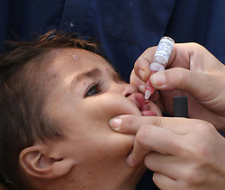 Aug.15, 2017 - Jalalabad, Afghanistan - A health worker feeds a child with polio vaccine during an anti-polio campaign in Jalalabad, capital of Nangarhar province, Afghanistan.  A three-day anti-polio campaign started in Nangarhar province on Tuesday. (Credit Image: © Rahman Safi/Xinhua via ZUMA Wire)