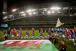 DUBLIN, IRELAND - Tuesday, October 16, 2018: Wales players walk out before the UEFA Nations League Group Stage League B Group 4 match between Republic of Ireland and Wales at the Aviva Stadium. (Pic by David Rawcliffe/Propaganda)