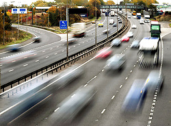 Embargoed to 0001 Monday November 19 File photo dated 26/10/09 of traffic on a motorway. More than three out of four people support automatic driving bans for those who cause a death or serious injury on the road, a new survey suggests.
