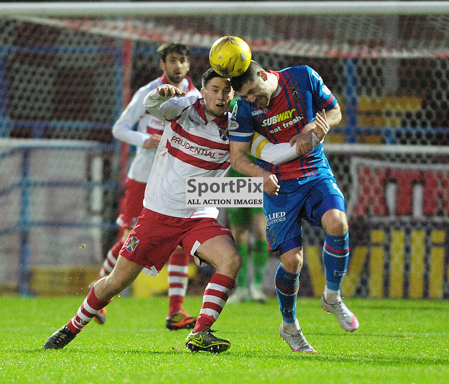 Willie Robertson (Stirling Albion, red &amp; white) and Iain Vigurs (ICT, Blue &amp; Red)<br /> <br /> Stirling Albion v Inverness Caledonian Thistle, Scottish Cup, Saturday 9th January 2016<br /> <br /> (c) Alex Todd | SportPix.org.uk
