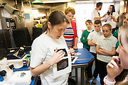 As part of the SEA FOR SOCIETY ocean awareness initiative pupils and teachers from Gael Scoil Uileog de Burca , Claremorris visited the Marine Institute's RV Celtic Explorer . Photo:Andrew Downes:XPOSURE
