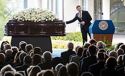 Ronald Prescott Reagan touches the casket of his mother and former U.S. First Lady Nancy Reagan as he speaks at her funeral at the Ronald Reagan Presidential Library in Simi Valley, California, March 11, 2016. Nancy Reagan's funeral was held here on Friday morning. She died of heart failure last Sunday at the age of 94. EXPA Pictures © 2016, PhotoCredit: EXPA/ Photoshot/ Yang Lei<br /> <br /> *****ATTENTION - for AUT, SLO, CRO, SRB, BIH, MAZ, SUI only*****