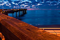 Sunise in St. Augustine Beach fishing pier, Florida.