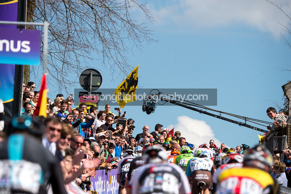 2016 Tour of Flanders April 3rd. The Peloton pass over the final ascent of the Paterberg during the 100th edition of the Tour of Flanders from Bruges to Oudenaarde.