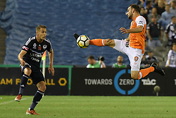November 11, 2017 - Melbourne, Victoria, Australia - JACK HINGERT (19) of Brisbane jumps for the ball in the round six match of the A-League between Melbourne Victory and Brisbane Roar at Etihad Stadium, Melbourne, Australia. Melbourne drew 1-1 (Credit Image: © Sydney Low via ZUMA Wire)