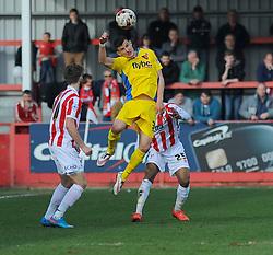 Exeter City's Graham Cummins wins the high ball - Photo mandatory by-line: Nizaam Jones - Mobile: 07966 386802 - 21/03/2015 - SPORT - Football - Cheltenham - Whaddon Road - Cheltenham Town v Exeter City - Sky Bet League Two