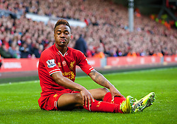 LIVERPOOL, ENGLAND - Sunday, May 11, 2014: Liverpool's Raheem Sterling in action against Newcastle United during the Premiership match at Anfield. (Pic by David Rawcliffe/Propaganda)