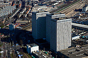Nederland, Zuid-Holland, Rotterdam, 20-03-2009; Marconiplein aan het begin van Nieuw Mathenesse, het Europointcomplex. De torens  huisvesten onder andere Gemeentewerken Rotterdam.  Air view of the syline and the houses and high-rise buildings of the western part of Rotterdam. Swart collectie, luchtfoto (toeslag); Swart Collection, aerial photo (additional fee required).foto Siebe Swart / photo Siebe Swart