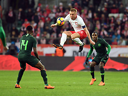 WROCLAW, March 24, 2018  Kamil Glik (C) of Poland controls the ball during an international friendly game between Poland and Nigeria in Wroclaw, Poland, on March 23, 2018. Nigeria won 1-0. (Credit Image: © Jaap Arriens/Xinhua via ZUMA Wire)