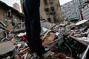 SHANGHAI, CHINA - MAY 04: (CHINA OUT) <br /> <br /> Two Dead In Shanghai Residential Block Collapse<br /> <br /> Rescuers search for buried people on May 4, 2014 in Shanghai, China. Two people were killed and three others injured after an old residential building collapsed Sunday morning. It was caused by the explosion of a liquefied gas cylinder.<br /> ©Exclusivepix