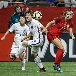 Oct 19, 2017; New Orleans, LA, USA; USA forward Alex Morgan (13) against Korea Republic Shin Damyeong (3) during the first half of an International Friendly Women's Soccer match at the Mercedes-Benz Superdome. Mandatory Credit: Derick E. Hingle-USA TODAY Sports