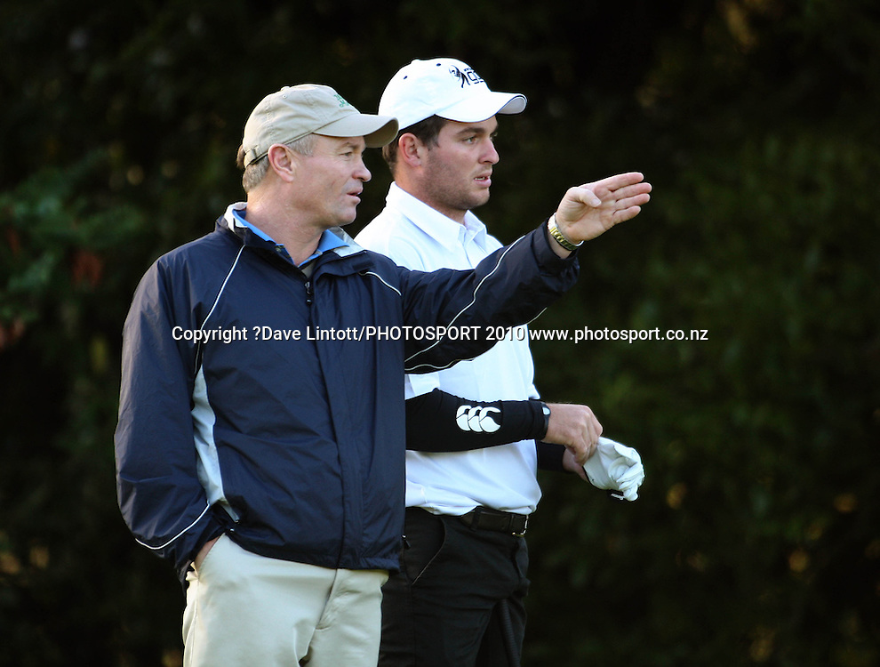 NZ's Ryan Fox (right) takes advice from his caddy/father Grant.<br /> Trans Tasman Cup at Royal Wellington Golf Club, Wellington. Monday, 29 March 2010. Photo: Dave Lintott/PHOTOSPORT