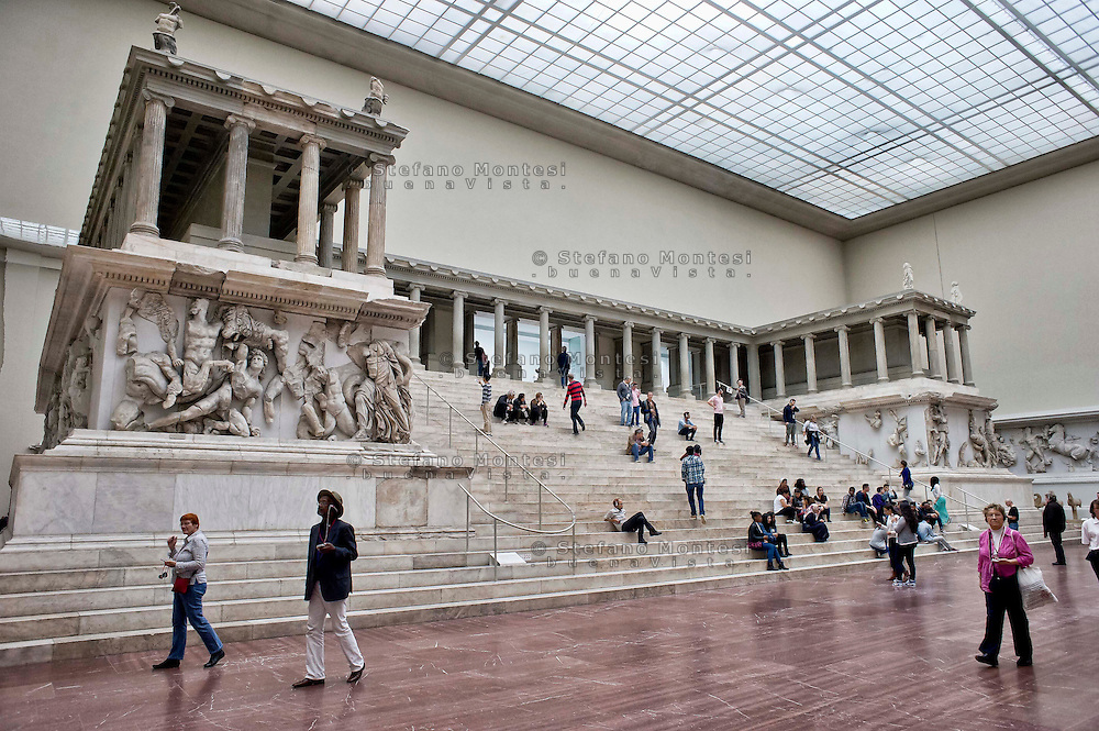 The Great Altar of Pergamon, excavated from Turkey and housed in Berlin since 1902, rests in the Pergamon Museum built for its display.