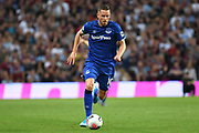 Everton midfielder Gylfi Sigurdsson (10) sprints forward with the ball during the Premier League match between Aston Villa and Everton at Villa Park, Birmingham, England on 23 August 2019.