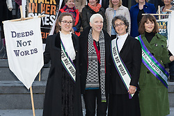 "© Licensed to London News Pictures. 08/03/2015. London, UK. Laura Pankhurst, Annie Lennox, Helen Pankhurst and Gemma Arterton and  at the ""Walk In Her Shoes"" event to mark International Women's Day at The Scoop amphitheatre on the south bank in London. Photo credit : Vickie Flores/LNP"