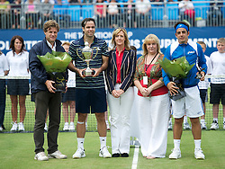 LIVERPOOL, ENGLAND - Saturday, June 18, 2011: Men's Champion Fernando Gonzalez (CHI) with Tournament Director Anders Borg, Tradition ICAP sponsor, Liverpool City Councillor Wendy Simon and runner-up Federico Gil (POR) on day three of the Liverpool International Tennis Tournament at Calderstones Park. (Pic by David Rawcliffe/Propaganda)