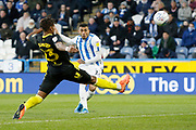 A chance missed by Karlan Grant of Huddersfield Town  during the EFL Sky Bet Championship match between Huddersfield Town and Brentford at the John Smiths Stadium, Huddersfield, England on 18 January 2020.