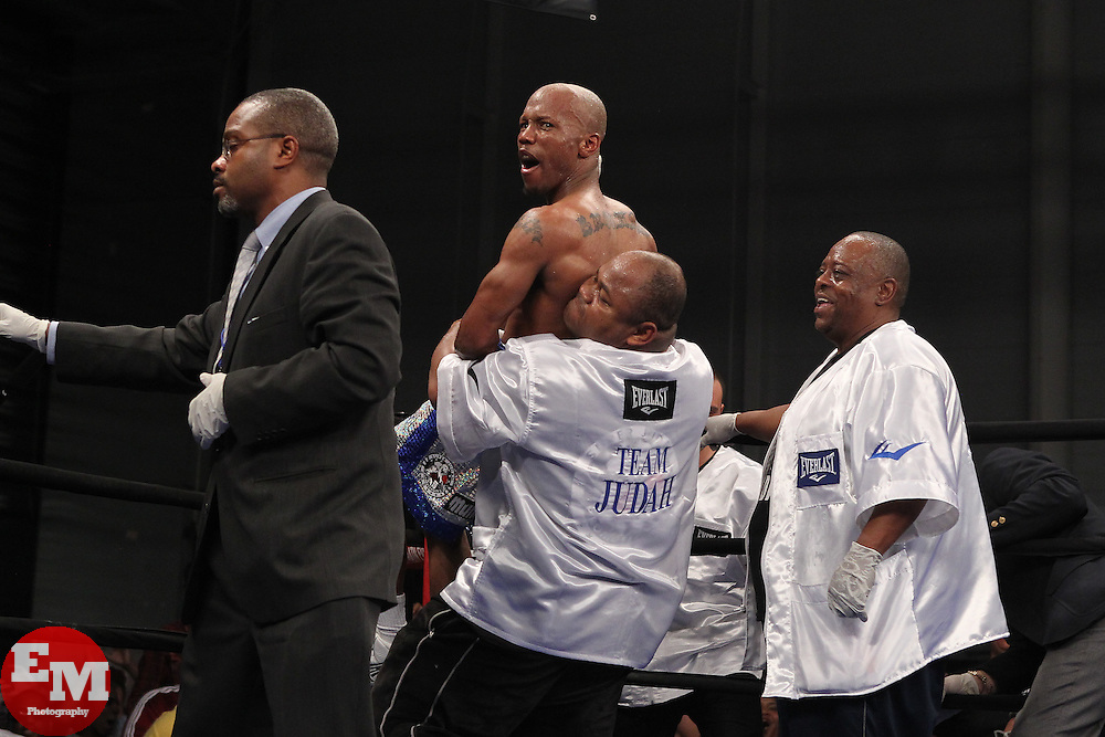 Mar 24; Brooklyn, NY, USA; Zab Judah celebrates his 9th round TKO over Vernon Paris at the Aviator.