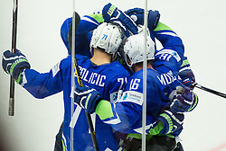 Bostjan Golicic of Slovenia, Ales Music of Slovenia celebrate after scoring first goal for Slovenia during Ice Hockey match between Slovenia and USA at Day 10 in Group B of 2015 IIHF World Championship, on May 10, 2015 in CEZ Arena, Ostrava, Czech Republic. Photo by Vid Ponikvar / Sportida