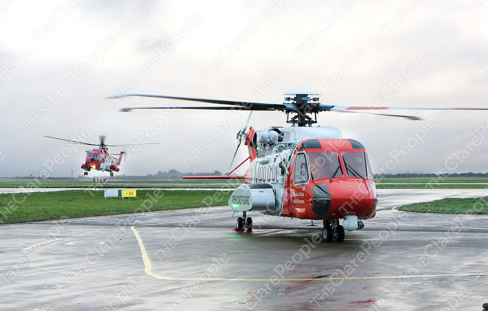The  Irish Coast Guard&Otilde;s new Sikorsky S-92 helicopter with the Old Sikorskey in the backround  in Shannon Co. Clare<br /> Picture Credit  Brian Gavin Press 22<br /> The  Irish Coast Guard&rsquo;s new Sikorsky S-92 helicopter with the Old Sikorskey in the backround  in Shannon Co. Clare<br /> Picture Credit  Brian Gavin Press 22