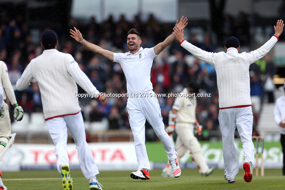 Bowler James Anderson celebrates his 400th Test wicket (Martin Guptill) during the second Investec Test Match between England and New Zealand at Headingley, Leeds. Photo: Graham Morris/www.photosport.co.nz
