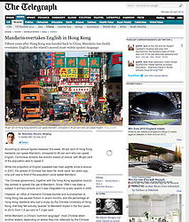 Tearsheet from The Telegraph newspaper...Hong Kong street