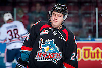 KELOWNA, CANADA - SEPTEMBER 24: Kyle Topping #24 of the Kelowna Rockets stands on the ice against the Kamloops Blazers on September 24, 2016 at Prospera Place in Kelowna, British Columbia, Canada.  (Photo by Marissa Baecker/Shoot the Breeze)  *** Local Caption *** Kyle Topping;