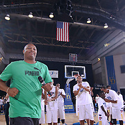 Allen Duffy Samuels of Duffy Hope take the court to addresses the crowd prior to The 2015 Duffy's Hope Celebrity Basketball Game Saturday, August 01, 2015, at The Bob Carpenter Sports Convocation Center, in Newark, DEL.    <br /> <br /> Proceeds will benefit The Non-Profit Organization Duffy's Hope Youth Programming.