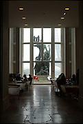 """Cafe restaurant in the """"Cite de l´architecture et du patrimoine"""" museum with view to Eiffel tower, Paris, France.Cafe Restaurant im """"Cite de l´architecture et du patrimoine"""" Museum mit Blick auf den Eiffelturm, Paris, Frankreich"""