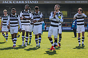 The FGR players applaud the travelling support at the end of the match during the Vanarama National League match between Southport and Forest Green Rovers at the Merseyrail Community Stadium, Southport, United Kingdom on 17 April 2017. Photo by Shane Healey.