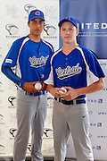 Central City players Harrison Davis (L) and Mitchell Stevens, Baseball New Zealand Partnership Announcement with United Airlines. Auckland, New Zealand. 2 November 2016. Copyright Photo: William Booth / www.photosport.nz