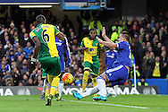 John Terry of Chelsea blocks a shot on goal by Sebastien Bassong of Norwich during the Barclays Premier League match at Stamford Bridge, London<br /> Picture by Paul Chesterton/Focus Images Ltd +44 7904 640267<br /> 21/11/2015