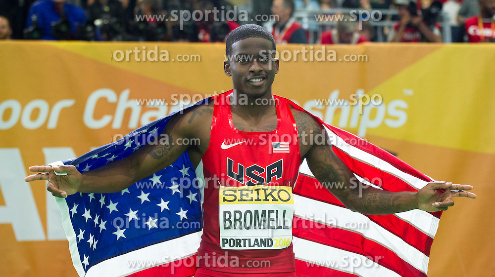 Trayvon Bromell of the United States celebrates after winning the men's 60 metres final during day two of the IAAF World Indoor Championships at Oregon Convention Center in Portland, Oregon, the United States, on March 18, 2016. EXPA Pictures &copy; 2016, PhotoCredit: EXPA/ Photoshot/ Yang Lei from Chongqing<br /> <br /> *****ATTENTION - for AUT, SLO, CRO, SRB, BIH, MAZ, SUI only*****