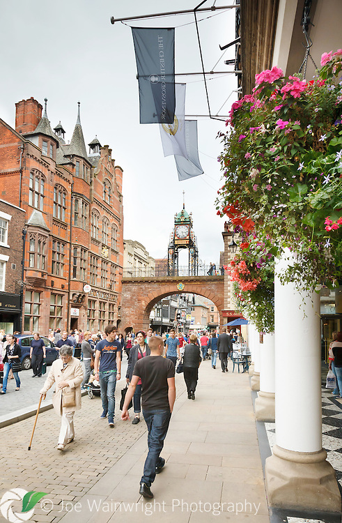 The five star Chester Grosvenor hotel is located in the heart of the city.  It is close to the 18th century Eastgate, a replacement for a much more ancient structure that served as one of the major access points to the city through the Roman walls.