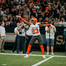 Sep 16, 2018; New Orleans, LA, USA; Cleveland Browns cornerback Damarious Randall (23) celebrates after a fumble recovery against the New Orleans Saints during the first quarter of a game at the Mercedes-Benz Superdome. Mandatory Credit: Derick E. Hingle-USA TODAY Sports