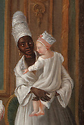 Rich family from Bordeaux with a black servant holding a child, painting, 18th century, in the Musee d'Aquitaine, Cours Pasteur, Bordeaux, Aquitaine, France. Bordeaux was an important slave trading city, many African slaves passed through Bordeaux and its white inhabitants also settled the West Indies as plantation owners. Picture by Manuel Cohen
