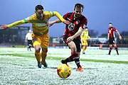 Yeovil Midfielder Jack Compton battles during the Sky Bet League 2 match between Morecambe and Yeovil Town at the Globe Arena, Morecambe, England on 16 January 2016. Photo by Pete Burns.