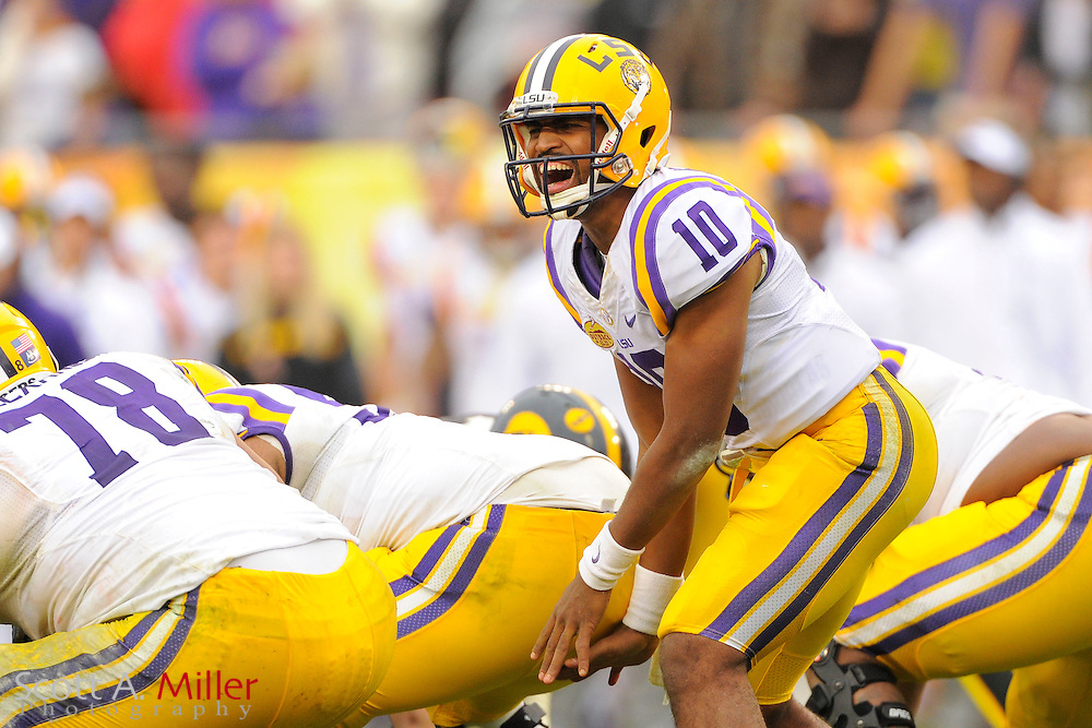LSU Tigers quarterback Anthony Jennings (10) during LSU's 21-14 win over the Iowa Hawkeyes in the 2014 Outback Bowl at Raymond James Stadium January 1, 2014 in Tampa, Florida.      <br /> <br />  &copy; 2014 Scott A. Miller