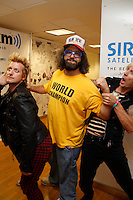 Green Day visits the studios of SiriusXM and meets Judah Friedlander on September 14, 2012 .L to R ; Tre Cool, Judah Friedlander and Mike Dirnt.