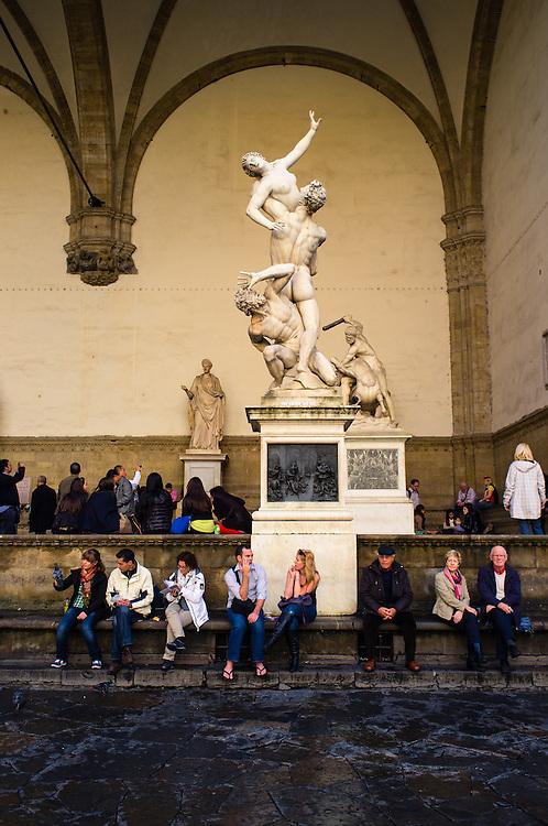 """""""The Rape of the Sabine Women"""", by Giambologna at the Loggia dei Lanzi in Piazza della Signoria in Florence, Italy"""