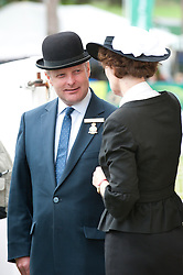 © Licensed to London News Pictures. 21/07/2015. Llanelwedd, UK. Conservative MP for Brecon and Radnorshire Chris Davies is director of Horses and the Main Ring for the Royal Welsh Show. The Royal Welsh Show is hailed as the largest & most prestigious event of it's kind in Europe. In excess of 200,000 visitors are expected this week over the four day show period - 2014 saw 237,694 visitors, 1,033 tradestands & a record 7,959 livestock exhibitors. The first ever show was at Aberystwyth in 1904 and attracted 442 livestock entries. Photo credit: Graham M. Lawrence/LNP