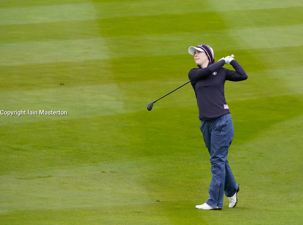 Auchterarder, Scotland, UK. 12 September 2019. Final practice day at 2019 Solheim Cup on Centenary Course at Gleneagles. Pictured; Brittany Altomare plays her approach to the 7th green. Iain Masterton/Alamy Live News