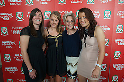 CARDIFF, WALES - Monday, October 8, 2012: Wales' Helen Lander, Josie Green, Jessica Fishlock, Angharad James during the FAW Player of the Year Awards Dinner at the National Museum Cardiff. (Pic by David Rawcliffe/Propaganda)