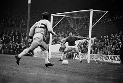 West Ham United's Jimmy Greaves looks up to cross the ball as Stoke City goalkeeper Gordon Banks covers his near post