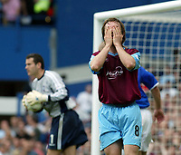 Photo. Chris Ratcliffe, Digitalsport<br /> NORWAY ONLY<br /> <br /> Ipswich Town v West Ham United. Division One Play-off Semi-final. 15/05/2004<br /> A bad day for David Connolly and West Ham as they lose 1-0 at Portman Road. Ipswich keeper in background is Kelvin Davis
