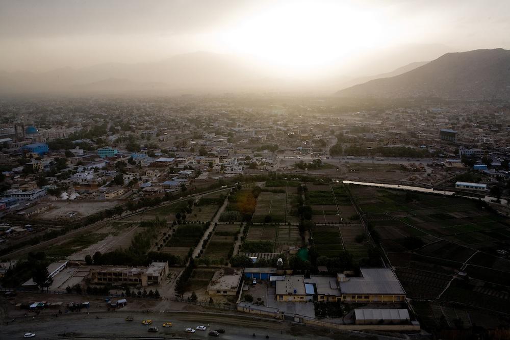 Children and views from Noon Guns platform above Kabul.