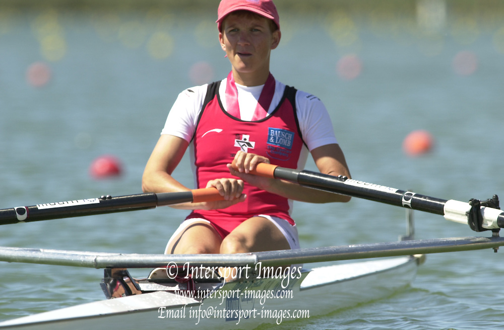 Peter Spurrier Sports  Photo.email pictures@rowingpics.com.Tel 44 (0) 7973 819 551.Tel/Fax 44 (0) 1784 440 772.Photo Peter Spurrier..2nd Rd FISA World Cup Seville. Day 3..LW winner, SUI Pia Vogal - SUI LW1X. 20010515 FISA World Cup, Seville, SPAIN
