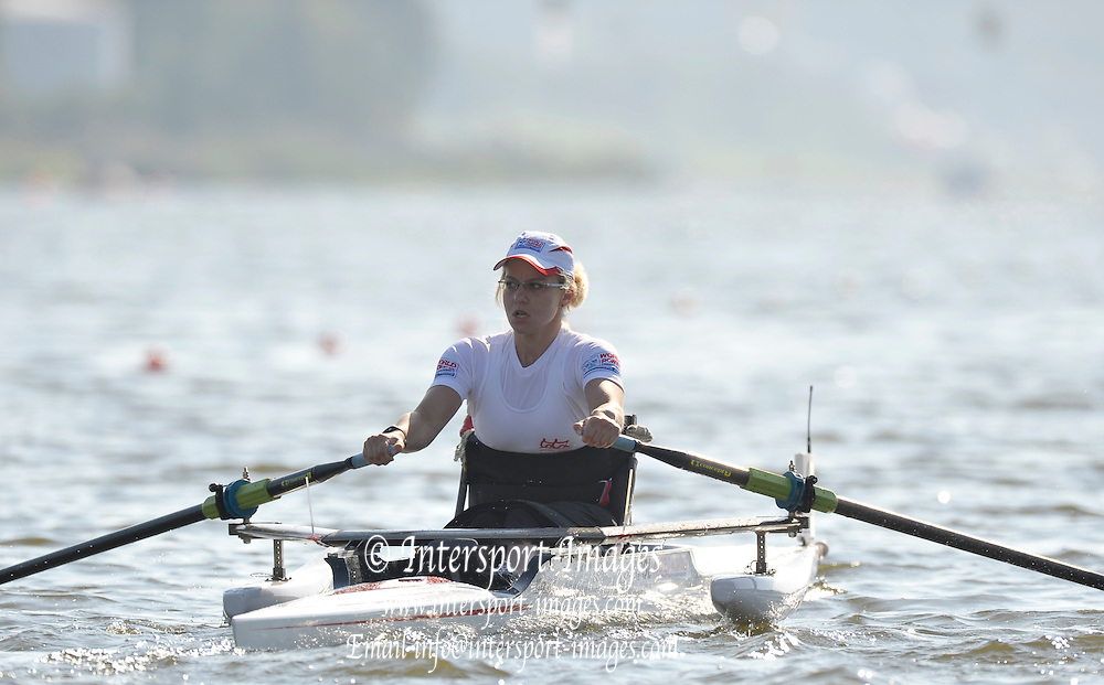 Poznan, POLAND, POL ASW1X, Martyna SNOPEK,   competing in the  race for lanes on the third  day of the, 2009 FISA World Rowing Championships. held on the Malta Rowing lake,Tuesday  25/08/2009  [Mandatory Credit. Peter Spurrier/Intersport Images] ; Adaptive.